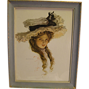 Wonderful Harrison Fisher Beauty ~ 1909 Vintage Print in Vintage Wood Frame