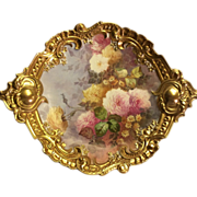 Exquisite Large French Limoges Rococo Charger/Plaque Gorgeous Hand Painted Roses and Mums circa 1900