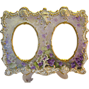 "Absolutely Rare and Exceptional Victorian Antique Limoges France Double Picture Frame ""Gorgeous African Violets "" Elaborate Mold Hand Painted Tressemann & Vogt, T&V circa 1892 - 1907"