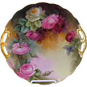 Gorgeous Austrian Hand Painted Roses Antique Floral Fine Art Cake Plate or Fabulous Serving Tray circa 1900