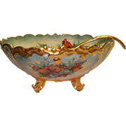 Gorgeous Christmas Holly Berries Cardinal Birds ANTIQUE T&V Limoges France Hand Painted Porcelain Footed PUNCH BOWL with MATCHING LADLE Circa 1907