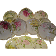 "Gorgeous Limoges France Plates Set of Twelve ""Hand Painted ROSES and Enameled Beading"" ~ Fine Art Dessert Afternoon Floral Tea Plates 19th Century Tressemann and Vogt, circa 1900"