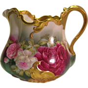 "Exquisite Limoges France Antique Victorian Roses Cider Pitcher ~ Superb Mold ~ Hand Painted Roses ~ Lavish Gold Decor ~ Artist Signed ""Roby"" ~ Circa 1892 - 1907 ~ Tressemann and Vogt"