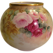 Absolutely Precious ROMANTIC ROSES Limoges France Hand Painted Bulbous Rose Bowl Vase Planter ~ Vignaud Freres ~ Circa 1911 - 1938