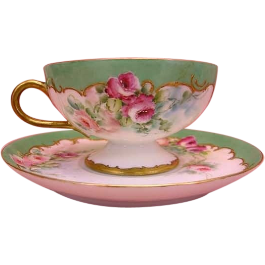 French Roses Tea Cup Saucer Beautiful Antique Haviland