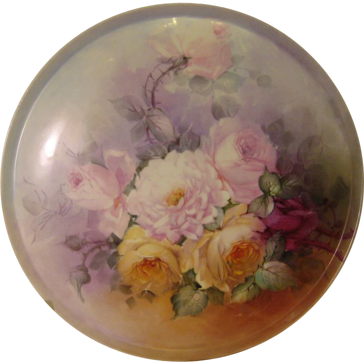 """STUNNING VICTORIAN ROSES"" Absolutely Gorgeous Large 15 1/2"" Antique Hand Painted Limoges France Serving Tray Charger Plaque Plate Vintage Victorian Heirloom Floral Art China Painting Original ONE-OF-A-KIND Handmade Artistry Fine French Circa 1900"