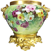 Beautiful LImoges France Antique Victorian Hand Painted French Roses Jardiniere ~ Exceptional Ornate Scrolled Base ~ Brilliant Multi Colored Roses ~ Circa  1900