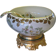 Beautiful Antique T&V Limoges France Hand Painted Red Holly Berry Berries ~ Sweet Mistletoe ~ White Blossoms Porcelain Punch Bowl ~ Plinth/Pedestal/Base ~ Rare Matching Ladle ~ Heirloom Treasure ~ Circa 1900