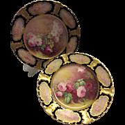 "~ Gorgeous Creme De La Creme Fine Limoges France Porcelain Cabinet Plates ~ Breathtaking One-of-a-Kind Hand Painted Roses ~ Master Porcelain Artist Signed ""A. Bronssillion"" Elegant Heirloom China Painting"