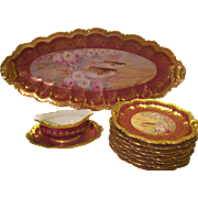 "Magnificent Limoges France Porcelain Art Heirloom ~ Stunning Antique Hand Painted ""A. Bronssillon"" Hand Painted Fine Dining Fish Platter Dinner Serving Set ~ Gorgeous Hand Painted Roses ~ Individual Hand Painted Fish Portraits ~ Circa 1900"