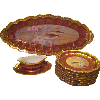 """Magnificent Limoges France Porcelain Art Heirloom ~ Stunning Antique Hand Painted """"A. Bronssillon"""" Hand Painted Fine Dining Fish Platter Dinner Serving Set ~ Gorgeous Hand Painted Roses ~ Individual Hand Painted Fish Portraits ~ Circa 1900"""