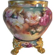 "Stunning Antique Limoges France Masterpiece ~ RARE ONE-OF-A-KIND Creme de la Creme Fine Art Handpainted Roses JARDINIERE with Matching Paw Footed Pedestal Base ~Hand Painted and Signed by Famous China Artist ""THOMAS M. JELINEK"""