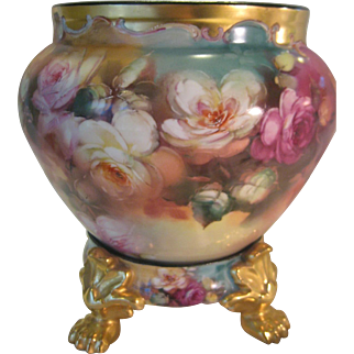"""Stunning Antique Limoges France Masterpiece ~ RARE ONE-OF-A-KIND Creme de la Creme Fine Art Handpainted Roses JARDINIERE with Matching Paw Footed Pedestal Base ~Hand Painted and Signed by Famous China Artist """"THOMAS M. JELINEK"""""""