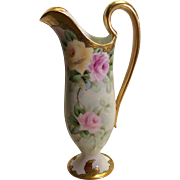 """Beautiful T&V Limoges Romantic EWER ~ PITCHER ~ Rare Molding ~ Exceptional Heavy Roman Gold ~ Beautiful Hand Painted Roses ~ 12 1/4"""" Tall"""