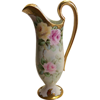 "Beautiful T&V Limoges Romantic EWER ~ PITCHER ~ Rare Molding ~ Exceptional Heavy Roman Gold ~ Beautiful Hand Painted Roses ~ 12 1/4"" Tall"