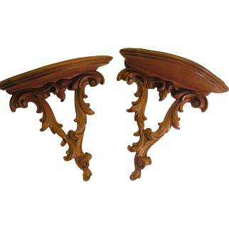 Gorgeous Pair of Carved Antique French Wall Sconce Shelves or Brackets Baroque Style Acanthus Leaves