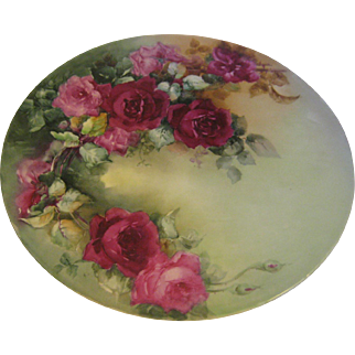 """VICTORIAN FRENCH HAND PAINTED TEA ROSES"" Gorgeous Limoges 16"" France Plaque ~ Chop Tray ~ Charger ~ Collector Piece Gorgeous Artistry"
