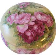 "Gorgeous Limoges France Outstanding Large 8"" Diameter French Porcelain Jewel Box Powder Dresser Jar with Gorgeous Hand Painted Roses Circa 1900"