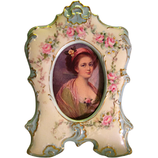 "Precious Victorian Antique Limoges France Picture Frame ""Gorgeous and Precious Pink Hand Painted Garden Bouquet Roses"" Embossed Porcelain Mold ~ AK/D France circa 1900"