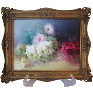 """Stunning Rare Beauty ~ Antique Hand Painted Limoges Framed Porcelain Tile ~ Breathtaking ROSES ~ Museum Quality Masterpiece Still Life Painting ~ One-of-a-Kind Floral French Painting on Porcelain ~ Artist Signed """"E Louise Jenkins"""" 1903"""