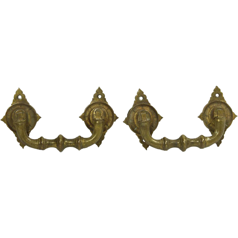 Pair of ornate cast brass drawer pulls