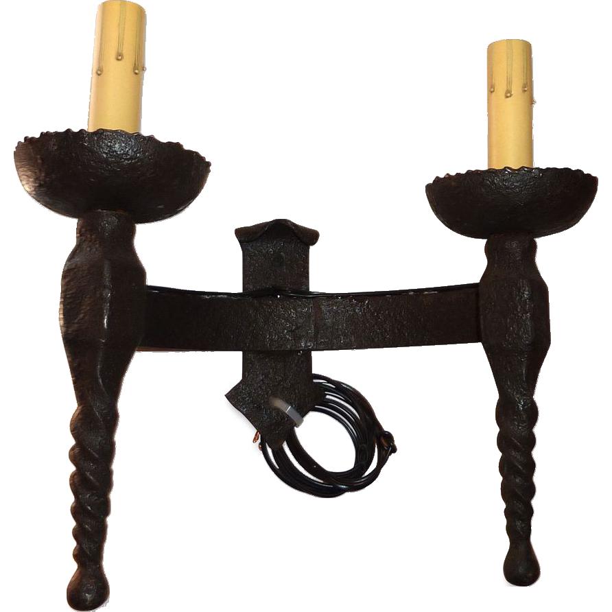 Vintage wrought iron two arm Belgian sconces