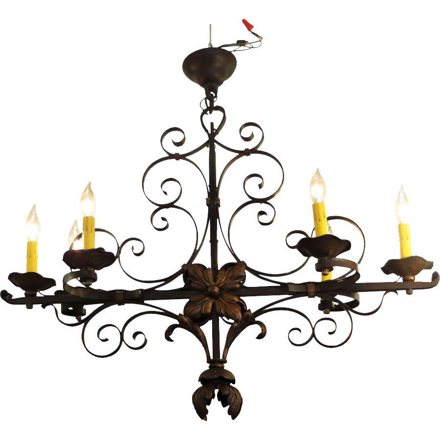 Ornate wrought iron chandelier from France