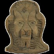 Carved wooden decorative lion