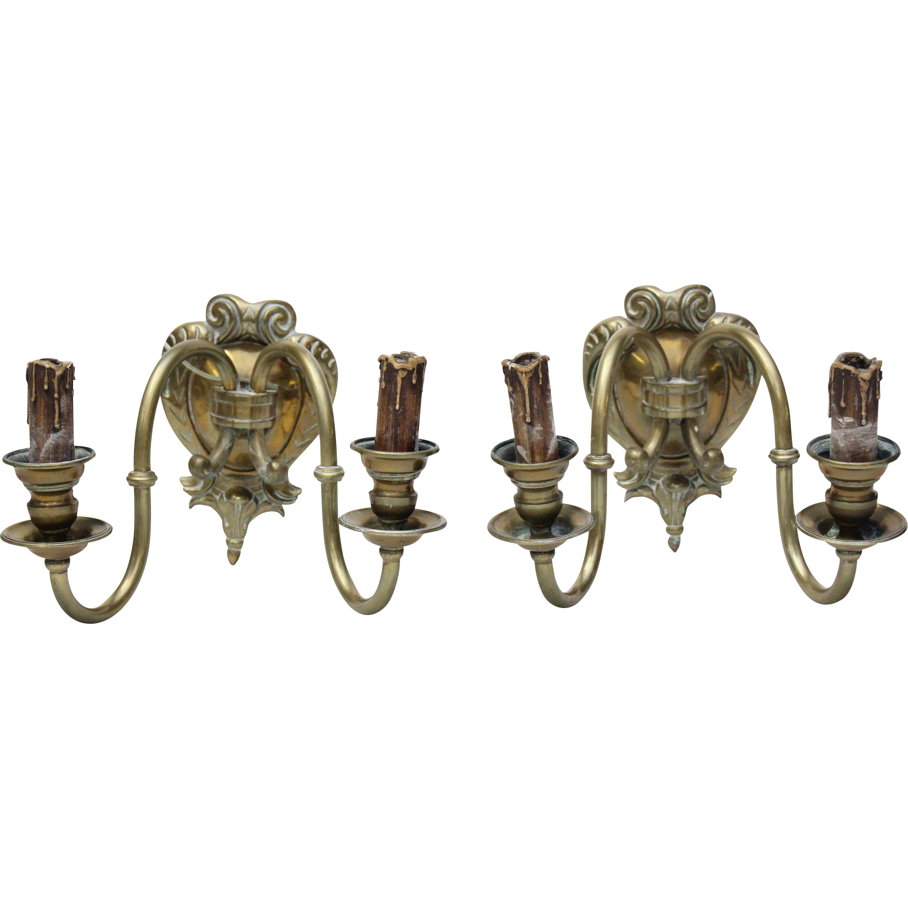 Pair of double arm bronze sconces