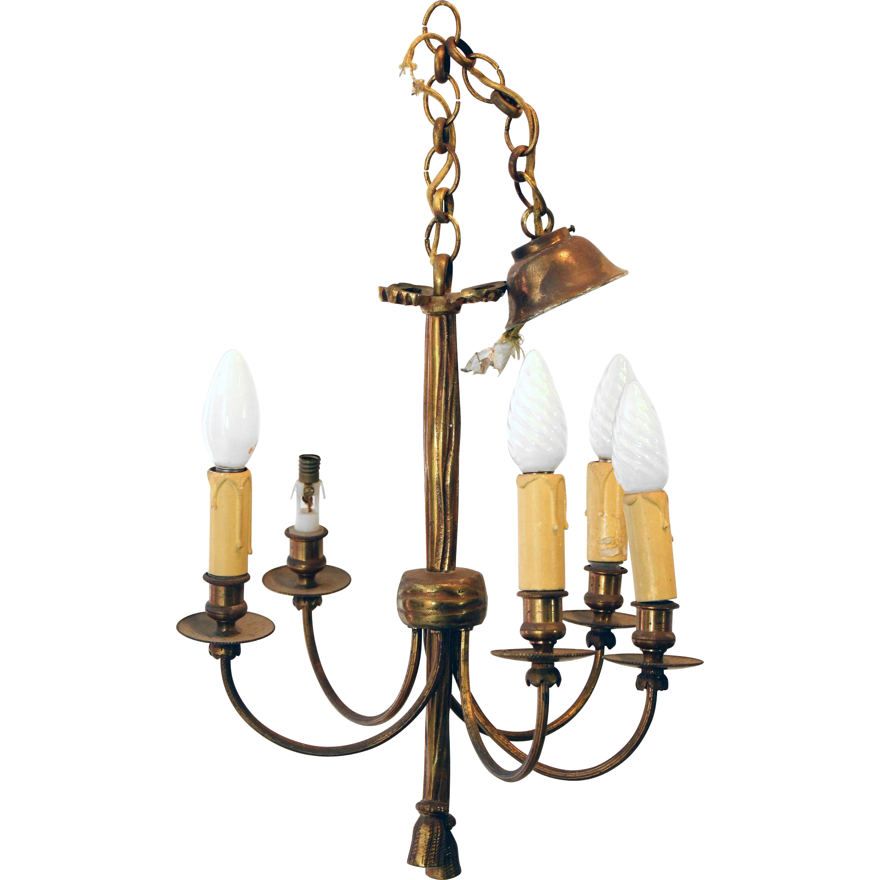 Antique bronze entry chandelier