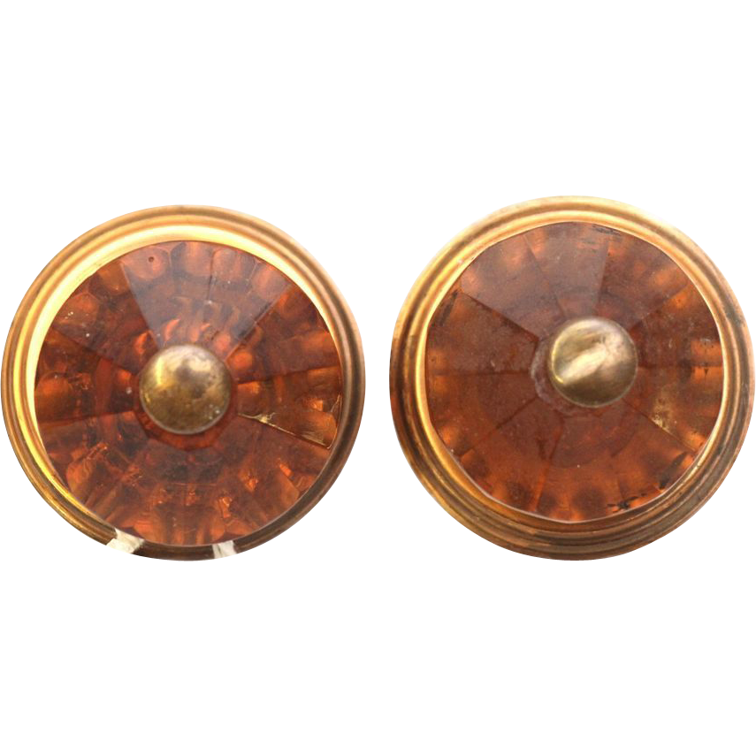 Pair of rose colored knobs