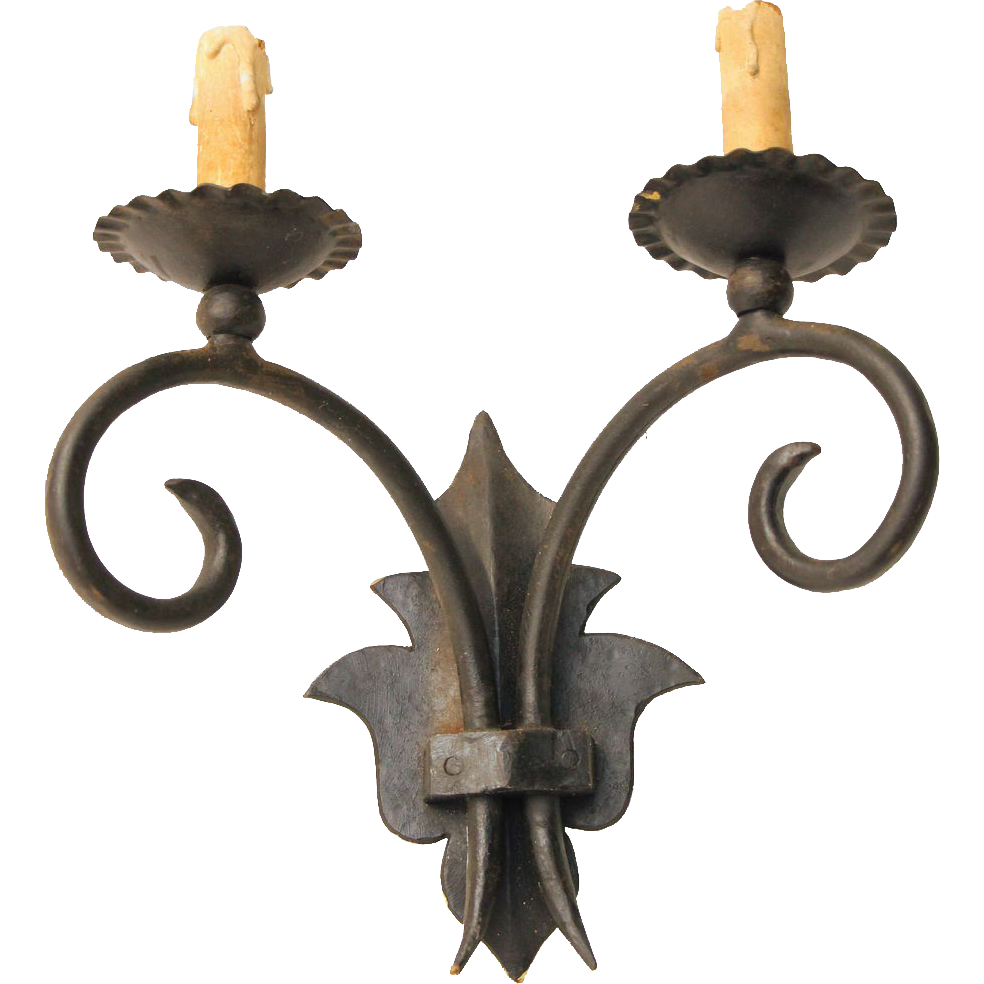 Set of three European vintage iron sconces
