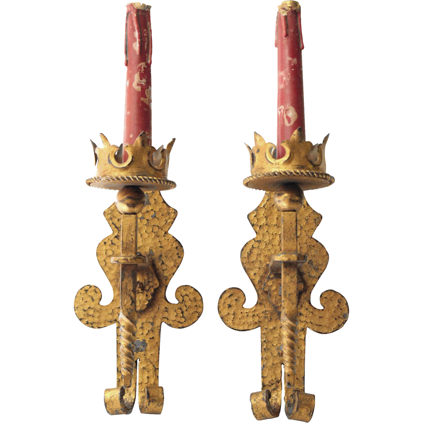 Early hammered Gothic iron sconces with golden brass finish
