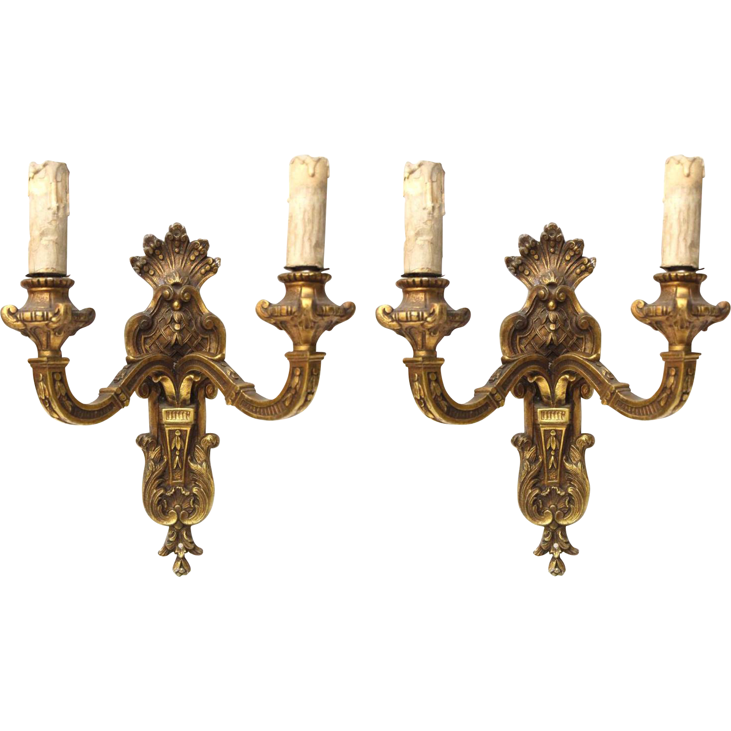 Set of ornate bronze wall sconces