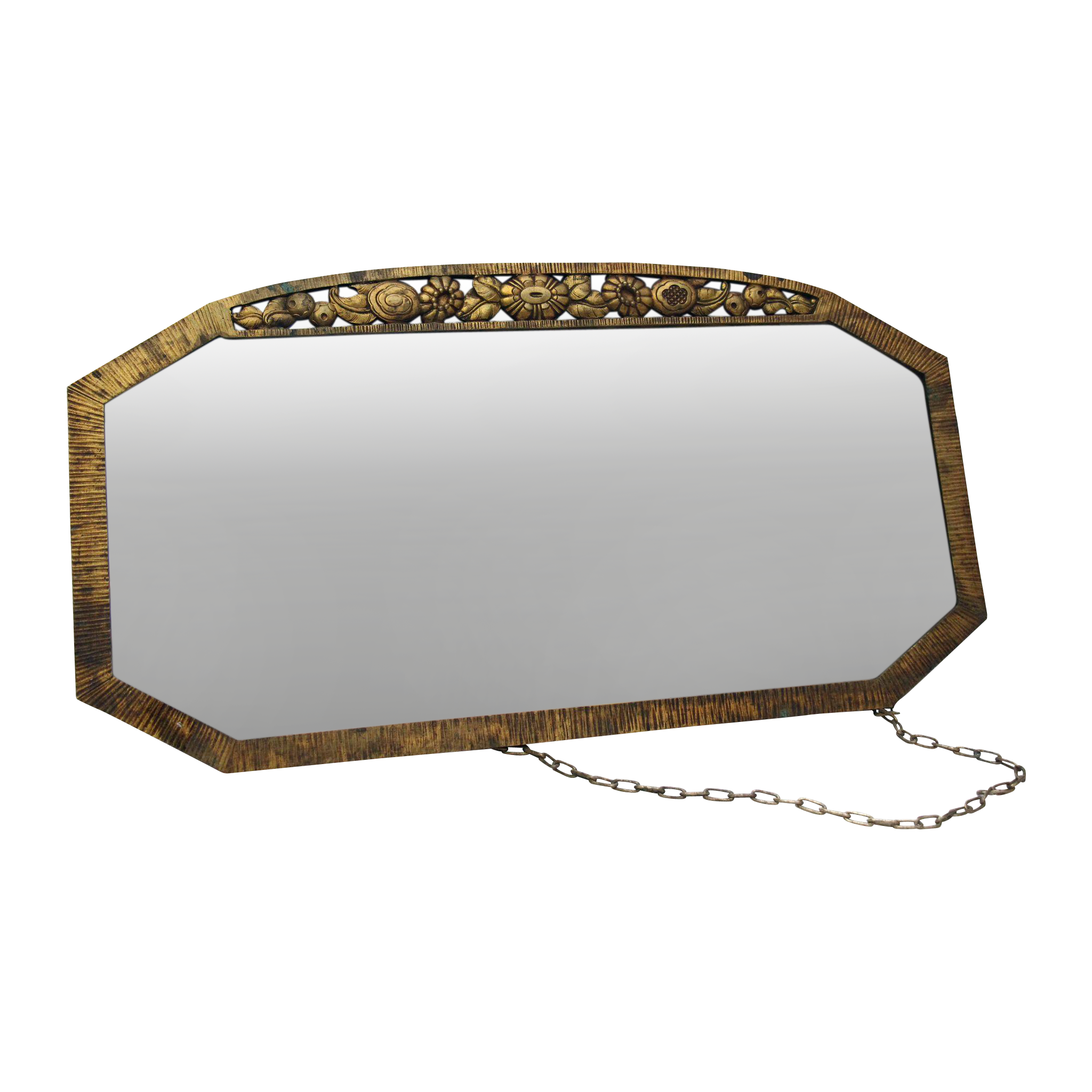 1930s Bronze ornate mirror with distressed glass