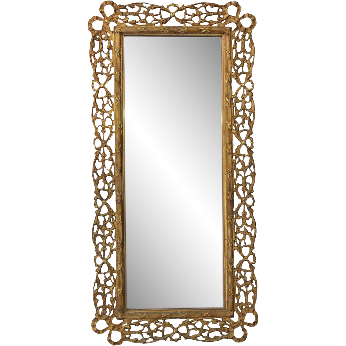 Ornate bronze mirror from France