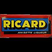 Vintage Ricard anisette metal liquor sign