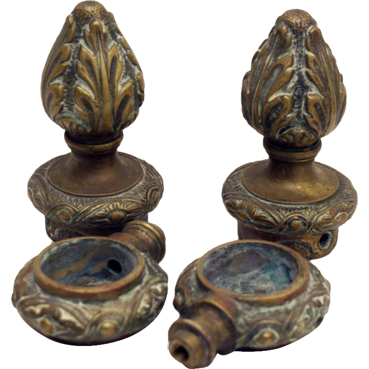 Ornate cast bronze French curtain hardware