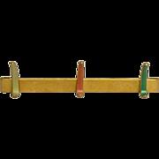 1960's Gold painted aluminum hook rack
