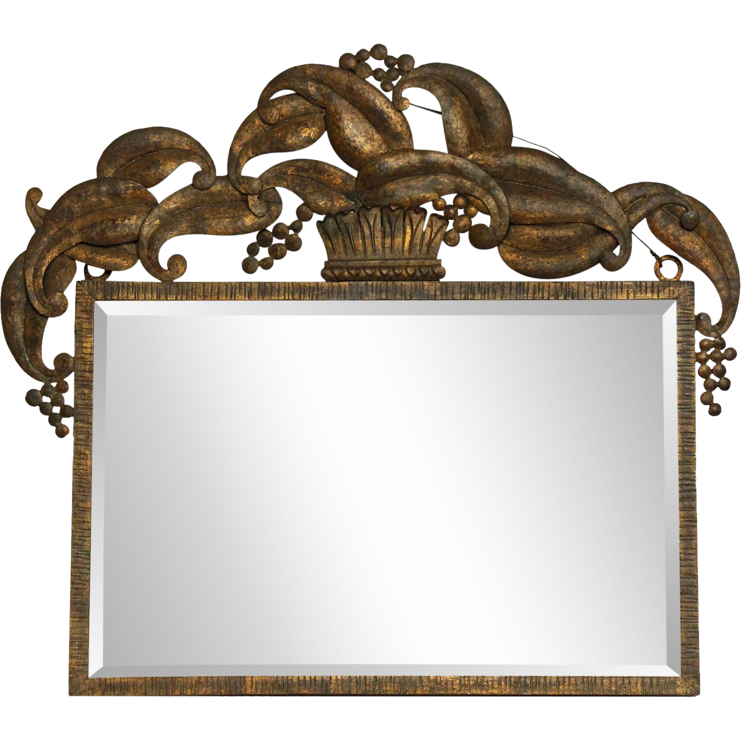 Metal framed beveled mirror with crown design