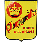 Authentic French two sided metal Champigneulles sign