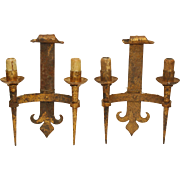 Pair of iron gilded Gothic wall sconces