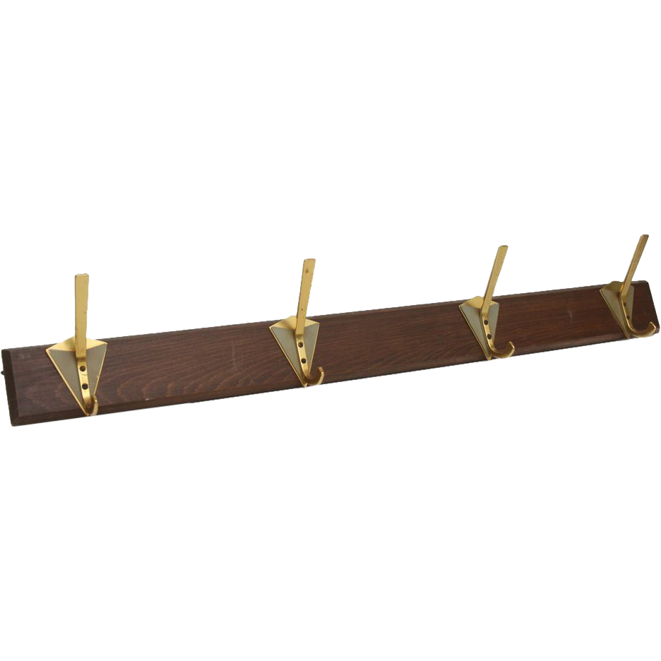 Mid century modern brass hook racks