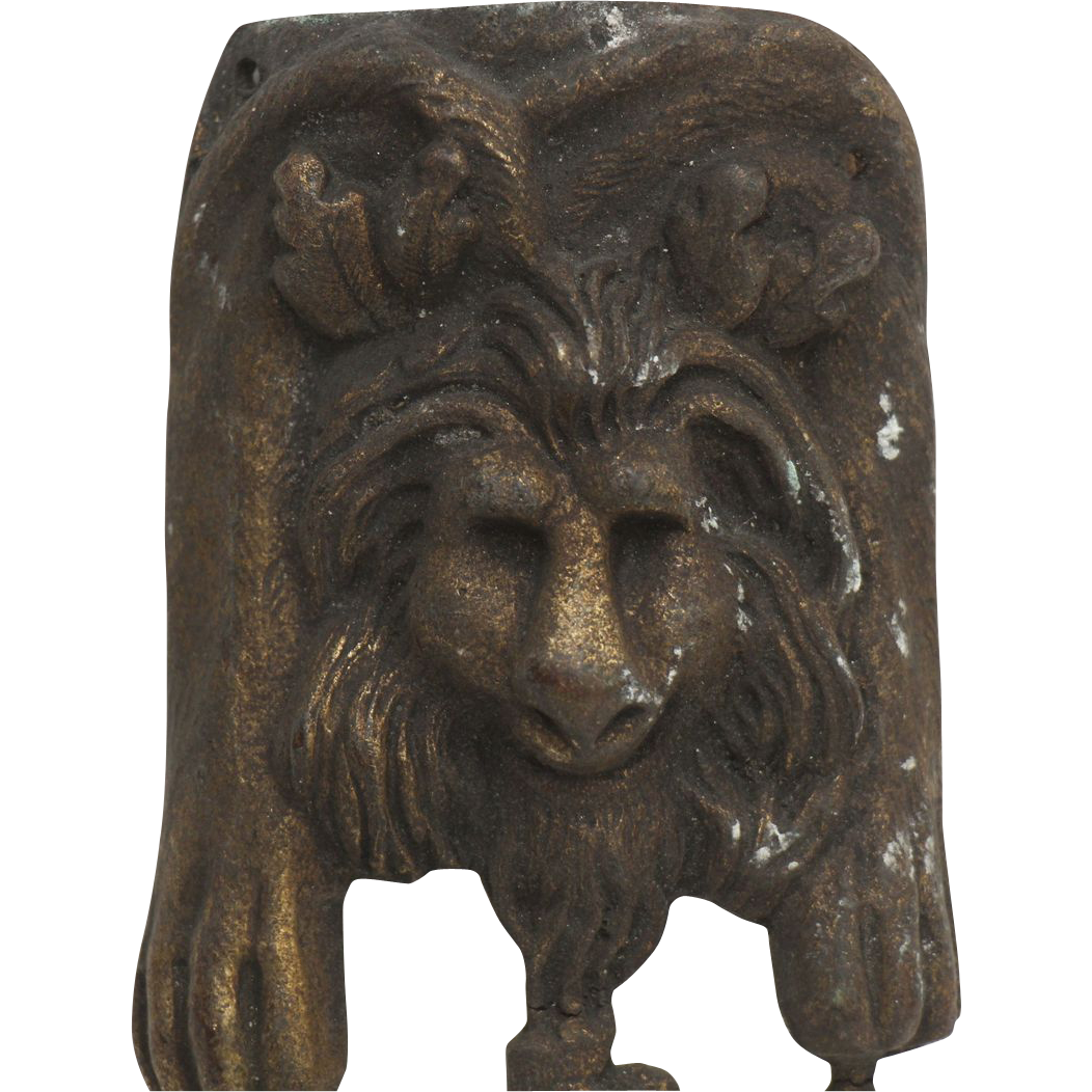Set of French bronze figural appliques with lion detail