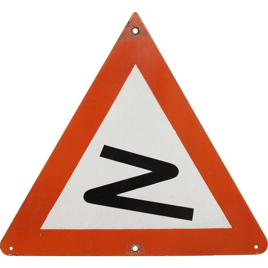 Original vintage European road sign.