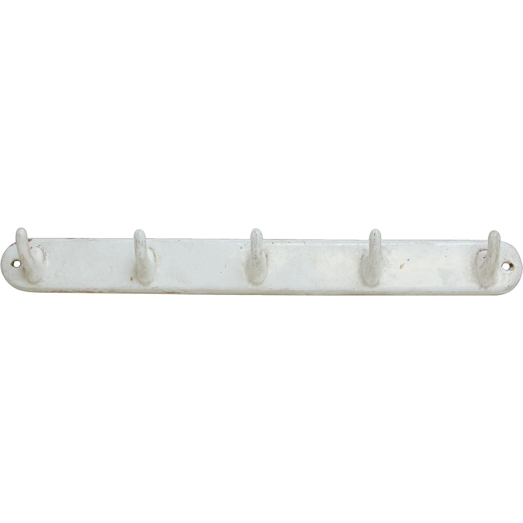 White porcelain over iron bar with five hooks