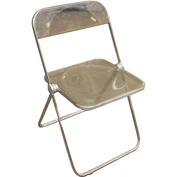 1970's Clear plastic folding chairs