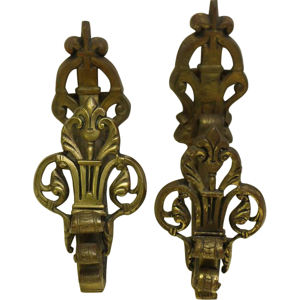 Pair of French ornate bronze curtain tiebacks