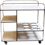 1970's Chrome and white plastic coated bar cart