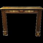 Art Nouveau carved oak mantel with appliques